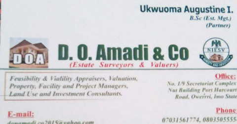 real estate agent in nigeria - property agent - broker and realtor- D.O Amadi & Co Estate Surveyors and valuers