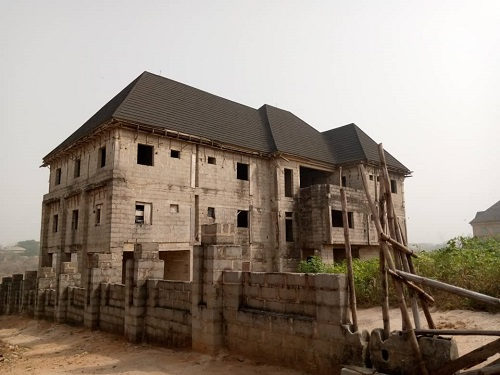 Property for Sale - Houses and Land for Sale - Buy Property in Nigeria - A 28 rooms uncompleted hotel building at Akachi layout owerri Imo State with extra one and half plot of land for sale