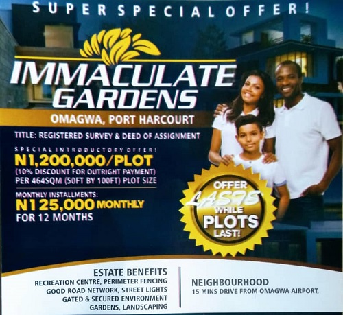Plots of land for sale at immaculate gardens omagwa, port harcourt
