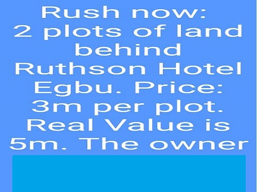 Quick Sell - 2 plots of land behind Ruthson Hotel Egbu owerri, imo state for sale